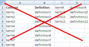 excel template glossary